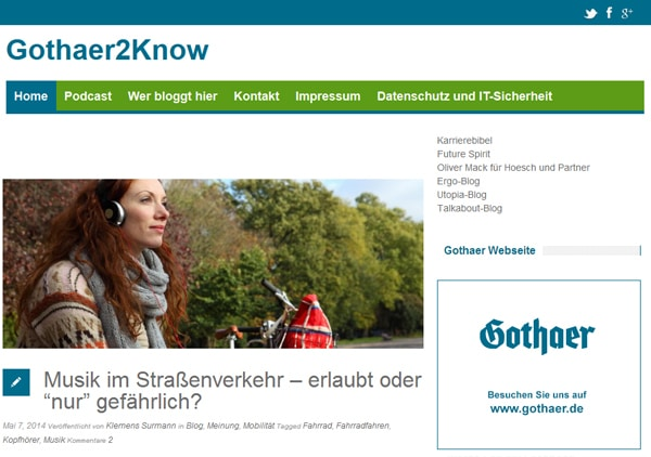 Ein Screenshot des Gothaer2Know-Blogs