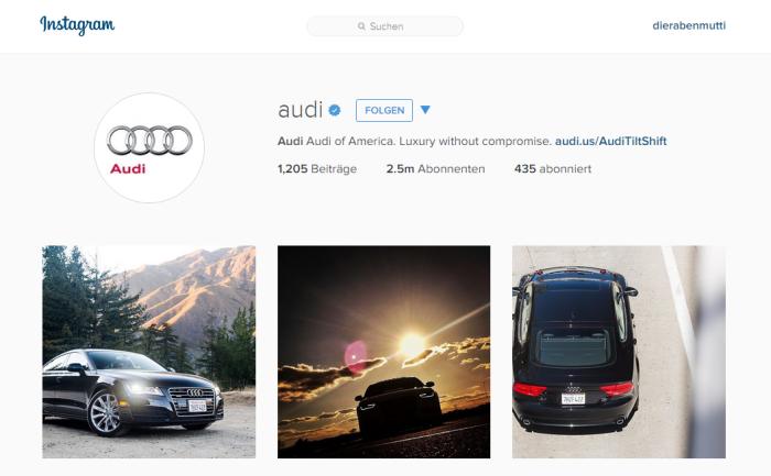 Audi Beispiel Instagram