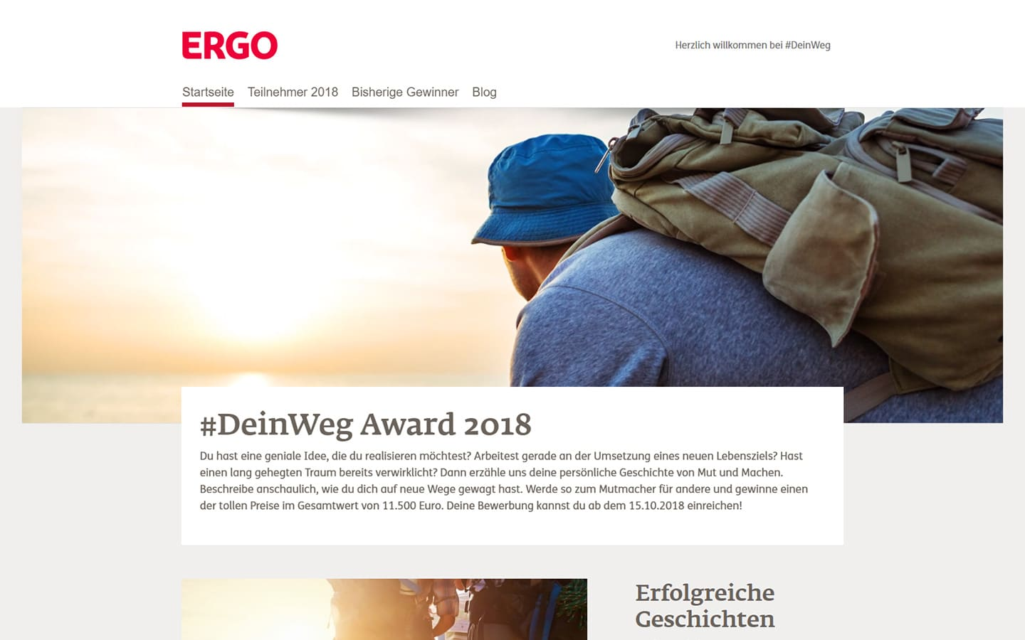 Screenshot Dein-Weg-Award Website