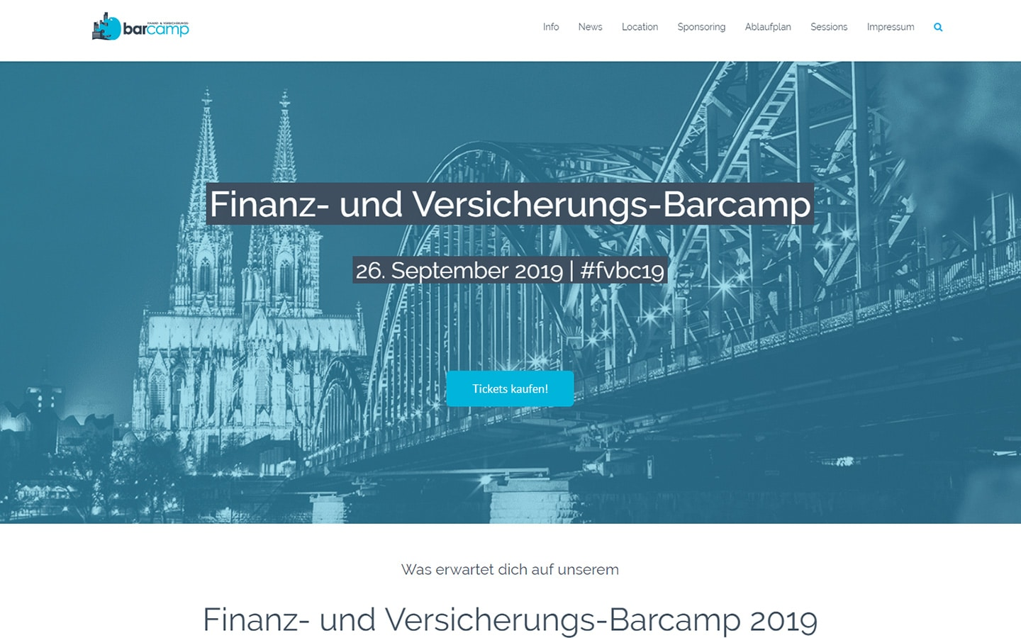 Screenshot Finanz- und Versicherungs-Barcamp Website