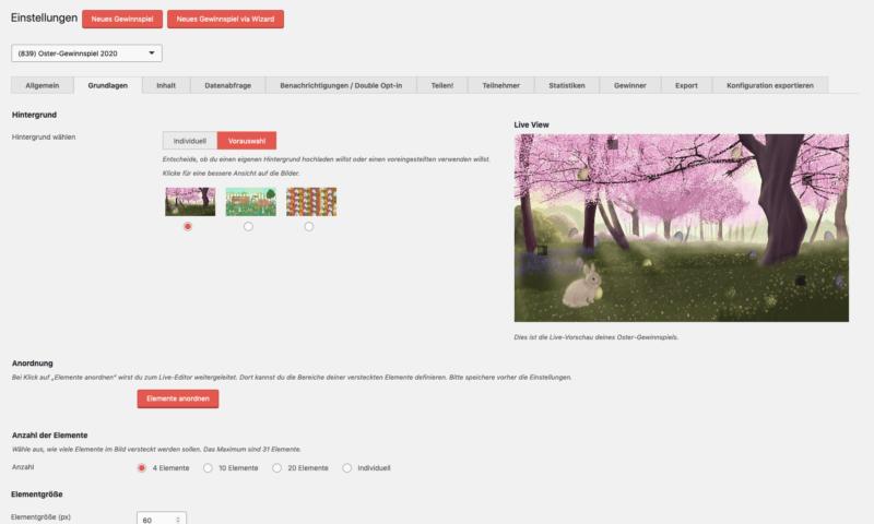 Screenshot der Grundlagen-Einstellungen im EasterHolic Plugin.